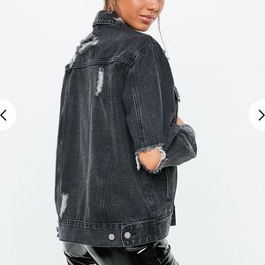 Black oversized distressed jean jacket